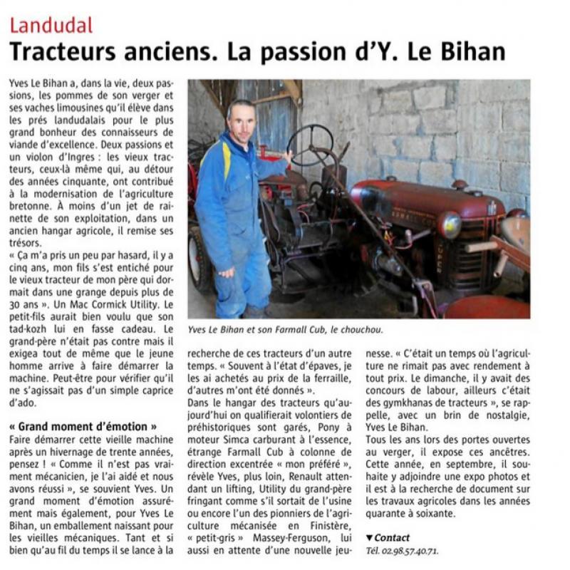 Le Télégramme - Tracteurs anciens, la passion d'Y. Le Bihan