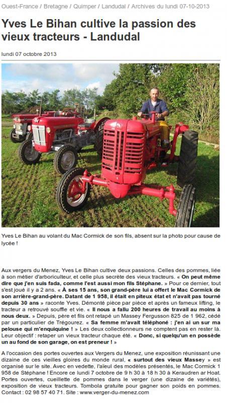 Ouest France : Yves Le Bihan cultive la passion des vieux tracteurs